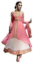 Justkartit Women's Faux Georgette Dress Material (JK3665 _Pink)