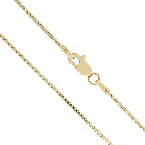 14K Solid Yellow Gold 1Mm Box Chain Necklace - 24 Inches