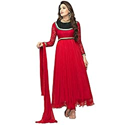 Cenizas New Arrival Red Colour Net Material Semi-Stiched Salwar suits