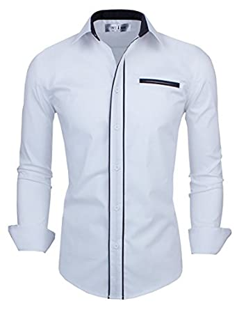 Tom's Ware Mens Classic Slim Fit Contrast Trim Longsleeve Shirt TWNMS310-1-CMS03-WHITE-US XS