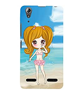 Vizagbeats Animated Girl Beach Background Back Case Cover for Lenovo A6000 Plus