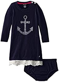 Nautica Baby Girls' Sweater Dress wit…