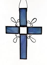 Blue or pink stained glass Cross with one glass bevel and wire work