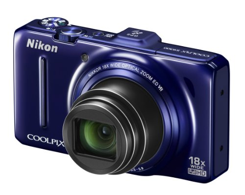Nikon COOLPIX S9300 Compact Digital Camera - Blue (16MP, 18x Optical Zoom) 3 inch LCD