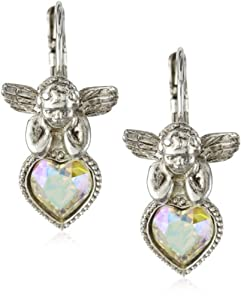 The Vatican Library Collection® Angel Crystal Heart Earrings
