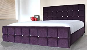 Venice chenille fabric upholstered bed frame diamante or fabric buttons All sizes UK made (charcoal grey, King)       reviews