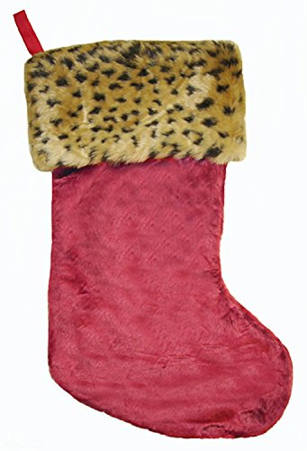 18 inch Plush Wild Safari Red Christmas Stocking with Leopard Print Trim