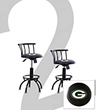 2 New Green Bay Packers Themed Adjustable Height 24quot-29quot Black Metal Finish Swivel Seat Bar St