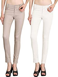 NGT Womens Formal Beige And White Trouser in Special Quality.