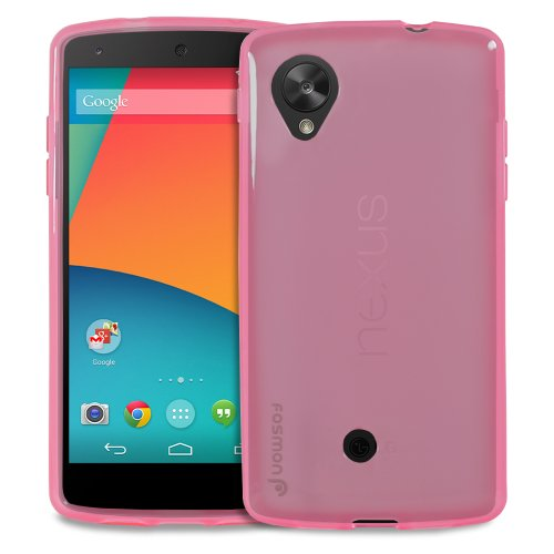 Fosmon DURA-CANDY Series Ultra Slim Flexible TPU Case Cover for Google Nexus 5 - Fosmon Retail Packaging (Hot Pink)