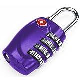 TRIXES 4-Dial TSA Combination Padlock Luggage Travel Purple