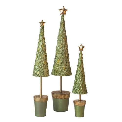 Leafy Topiary Tree With Star in Green - 17 inches