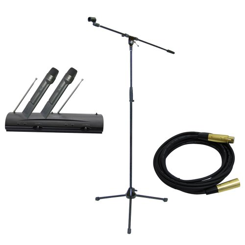 Pyle Mic And Stand Package - Pdwm2100 Professional Dual Vhf Wireless Handheld Microphone System - Pmks2 Tripod Microphone Stand W/Boom - Ppmcl15 15Ft. Symmetric Microphone Cable Xlr Female To Xlr Male