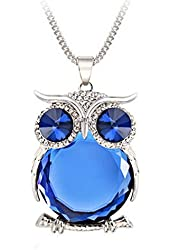Joannala Trendy Owl Necklace Crystal Jewelry Statement Women Silver Chain Long Necklaces