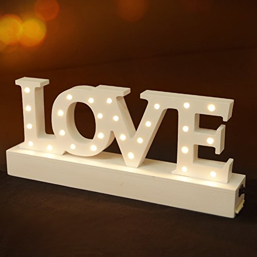 BRIGHT ZEAL Decorative Wooden LED Letters Light