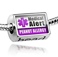 "Neonblond Beads Medical Alert Purple ""Peanut Allergy"" - Fits Pandora Charm Bracelet from NEONBLOND Jewelry & Accessories"