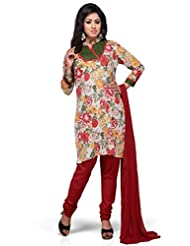 MultiColour Floral Printed 3/4 Sleeves Churidar Kameez