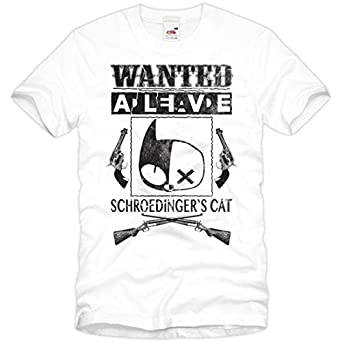 style3 Wanted Schroedinger's Chat T-Shirt Homme The Big Bang Theory Sheldon, Taille:S;Couleur:Blanc