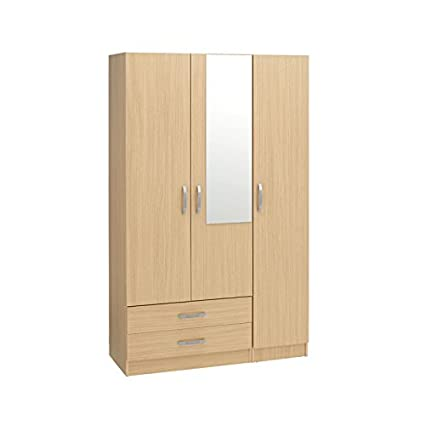Ideal Furniture BUDG0017-BCH 3 Door Plus 2 Drawers and Mirror Wardrobe, Wood, Beech