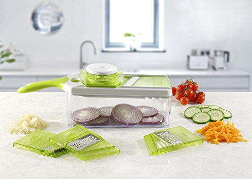 Mandoline Slicer Set, Cuts Fruits & Vegetables, Straight & Julienne, Grates Cheese, with 4 Adjustable Blades, Safety Holder , By Jobox (Mandolin French Fries compare prices)