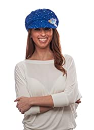 Glitter Sequin Newsboy Cap with Sparkle Flower, Royal with Flowers