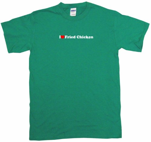 I Heart Love Fried Chicken Men'S Tee Shirt Large-Kelly Green