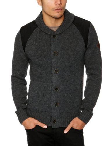 Timberland Wool Full Zip Men's Jumper Dark Charcoal Heather Large