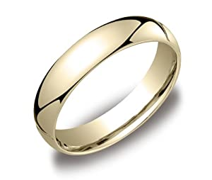 Men's 14k Yellow Gold Comfort-Fit Plain Wedding Band (5 mm), Size 9.5