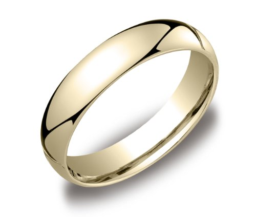Men's 14k Yellow Gold 5mm Comfort Fit Wedding Band Ring, Size 9