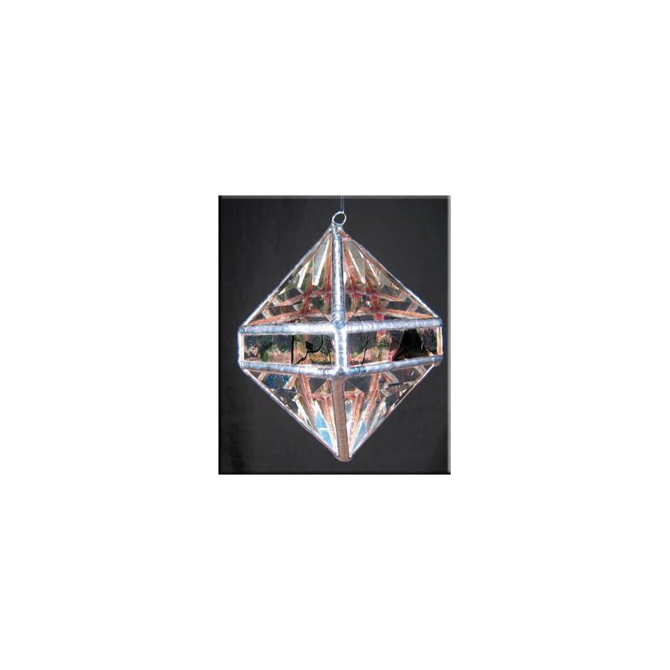 Rainbow Water Prism   Garden Collage Octahedron Rainbow Maker   Clear Stained Glass Suncatcher