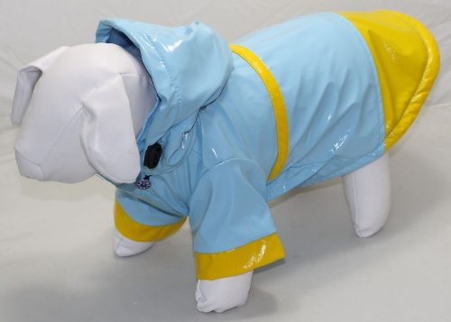 New! Blue Hooded Dog Rain Coat- 24