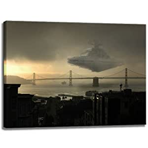 sternenzerst rer ber golden gate bridge star wars dark motiv auf leinwand im format. Black Bedroom Furniture Sets. Home Design Ideas