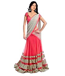 S4S Faux Georgette Embroidered Semi-stitched Lehenga Choli Material