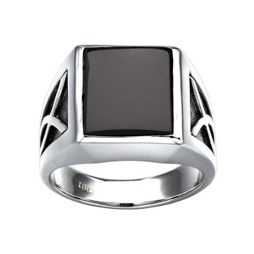 Sterling Silver Onyx Ring with black rhodium accent detail. Finger size 12