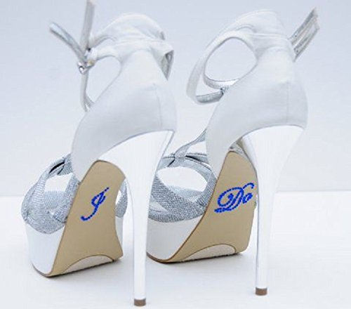 Unik Occasions Crystal Rhinestone I Do Wedding Shoe Stickers, Dark Blue