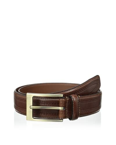 J.Campbell Los Angeles Men's 34mm Pattern-Embossed Leather with Single Stitch Textured Buckle Belt