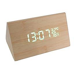 Rong Modern Triangle sensor Wood Clock Dual led display Bamboo Clock digital alarm clock Led Clock Show Temp Time Control (wood color)