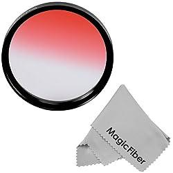 72MM Goja Graduated Red Lens Color Filter for DSLR Cameras + Premium MagicFiber Microfiber Cleaning Cloth