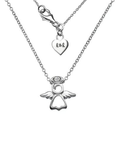 Lily & Lotty Silver and Diamond Angel Necklace