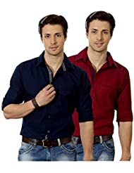 Entigue Stylish & Unique In Cotton Material Men's Solid Casual Shirt (Pack Of 2) (Royal Blue & Mahroon)