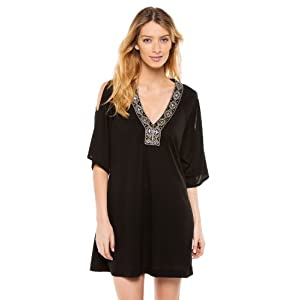 Dotti Women's Knits Summer Jewels Beaded V-Neck Tunic Swim Cover Up Black XL