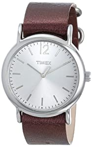 Timex Women's T2P3419J Weekender Metallic Oxblood Slip-Thru Leather Strap Watch