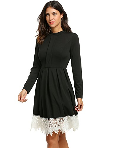 Zeagoo Women's Stand Neck Long Sleeve Lace Trim Pleated Skater Party Dress (X-Large, Black)