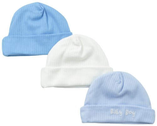 Gerber Baby-Boys Newborn 3 Pack Textured Knit Caps, Blue, 0-3 Months