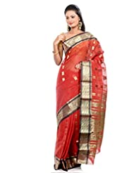 B3Fashion Brick Red Traditional Bengal Banarasi Style Tant Handloom Saree With Zari Weave Pallu & Border And Zari...