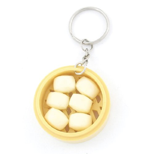 Plastic Steamed Bread Steamer Pendant Keychain Hanging Ornament front-583354
