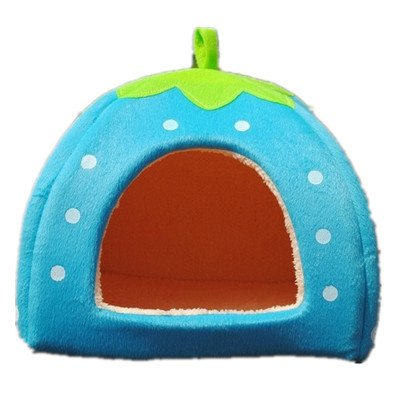 Strawberry Small Cotton Soft Dog Cat Pet Bed House S/m/l/xl (Blue, S)