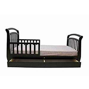 Deluxe Toddler Sleigh Bed With Drawer Finish Black from Dream On Me