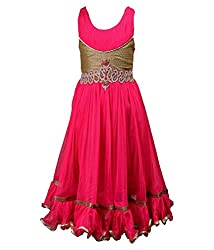 Motley Girls' Dress (6-7-M043_7-8 Years_Pink _7-8 Years)