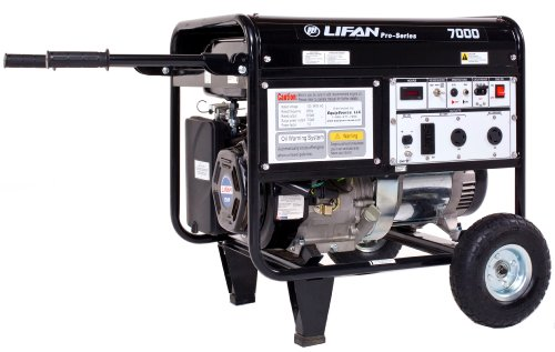 Lifan Pro Series Lf7000 7000 Watt Comercial/Contractor/Rental Grade 13 Hp 389Cc 4-Stroke Ohv Gas Powered Portable Generator With Recoil Start And Wheel Kit With Never-Flat Foam Filled Tires